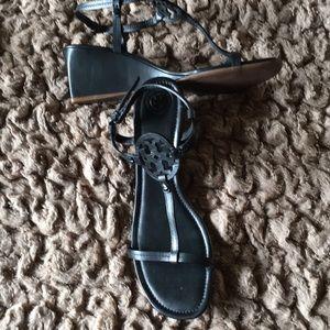 Tory Burch black wedge sandal. Size 11